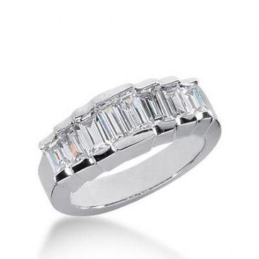 14K Gold Diamond Anniversary Wedding Ring 8 Straight Baguette Diamonds 1.08ctw 249WR109614K