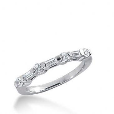 14K Gold Diamond Anniversary Wedding Ring 4 Round Brilliant, 3 Straight Baguette Diamonds 0.45ctw 255WR111614K