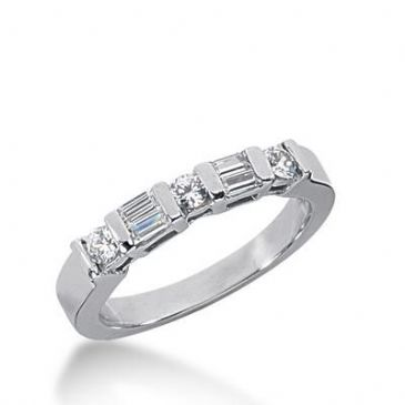 14K Gold Diamond Anniversary Wedding Ring 3 Round Brilliant, 4 Straight Baguette Diamonds 0.58ctw 257WR111814K