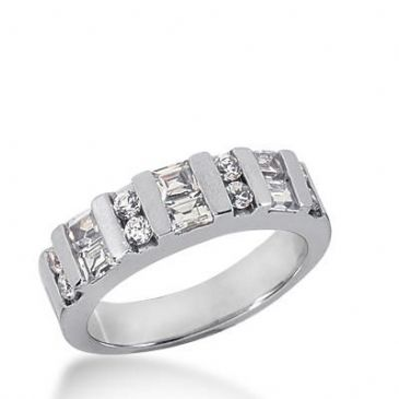 14K Gold Diamond Anniversary Wedding Ring 8 Round Brilliant, 6 Straight Baguette Diamonds 0.88ctw 261WR112214K