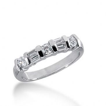 14k Gold Diamond Anniversary Wedding Ring 3 Round Brilliant, 4 Straight Baguette Diamonds 0.58ctw 262WR112314K