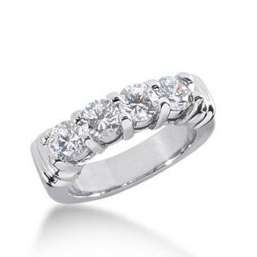 14k Gold Diamond Anniversary Wedding Ring 4 Round Brilliant Diamonds 1.40ctw 265WR112614K