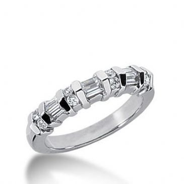 14k Gold Diamond Anniversary Wedding Ring 8 Round Brilliant, 6 Straight Baguette Diamonds 0.44ctw 269WR113214K
