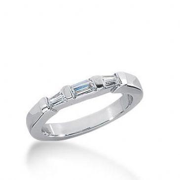 14k Gold Diamond Anniversary Wedding Ring 1 Straight Baguette, 2 Tapered Baguette Diamonds 0.21ctw 273WR113614K