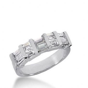 14k Gold Diamond Anniversary Wedding Ring 10 Straight Baguette Diamonds 1.04ctw 274WR115014K