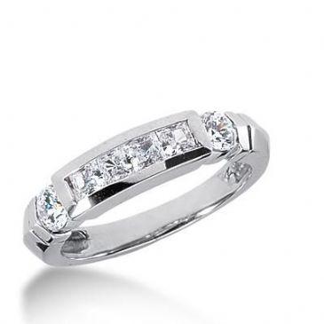 14k Gold Diamond Anniversary Wedding Ring 4 Princess Cut, 2 Round Brilliant Diamonds 1.18ctw 287WR133214K