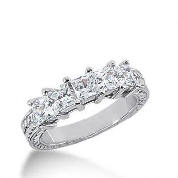 14k Gold Diamond Anniversary Wedding Ring 5 Princess Cut Diamonds 1.50ctw 288WR133314K