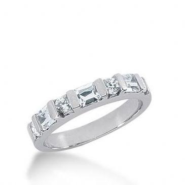 14k Gold Diamond Anniversary Wedding Ring  4 Round Brilliant, 3 Straight Baguette Diamonds 0.76ctw 291WR133614K