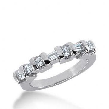 14k Gold Diamond Anniversary Wedding Ring 4 Round Brilliant, 3 Straight Baguette Diamonds 0.52ctw 292WR133714K