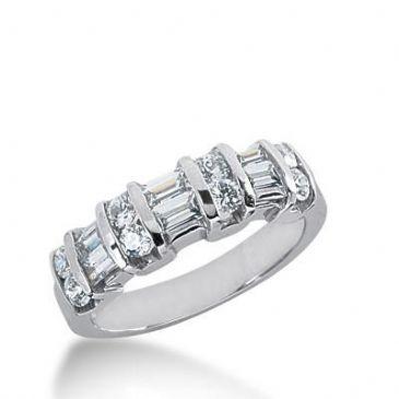 14k Gold Diamond Anniversary Wedding Ring 8 Round Brilliant, 6 Straight Baguette Diamonds 1.00ctw 293WR133914K