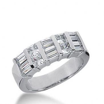 14k Gold Diamond Anniversary Wedding Ring 4 Princess Cut, 12 Straight Baguette Diamonds 1.28ctw 296WR134214K