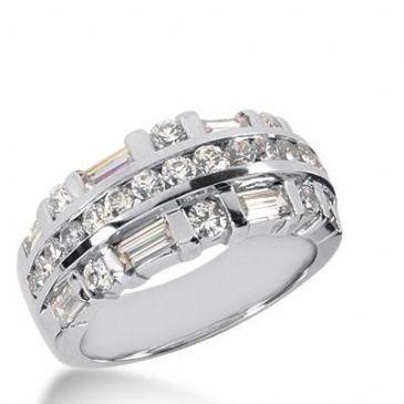 14k Gold Diamond Anniversary Wedding Ring 21 Round Brilliant, 8 Straight Baguette Diamonds 1.95ctw 298WR134414K