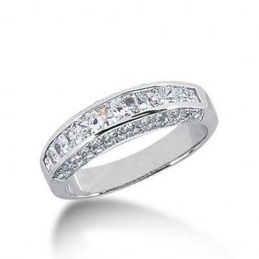 14k Gold Diamond Anniversary Wedding Ring 12 Princess Cut, 42 Round Brilliant Diamonds 1.98ctw 300WR134614K