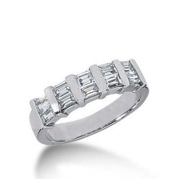 14k Gold Diamond Anniversary Wedding Ring 10 Straight Baguette Diamonds 0.80ctw 301WR134814K