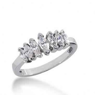 14k Gold Diamond Anniversary Wedding Ring 7 Marquise Shaped Diamonds 1.20ctw 314WR136914K