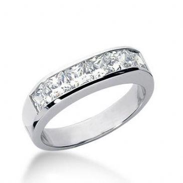 14k Gold Diamond Anniversary Wedding Ring 6 Princess Cut Diamonds 1.80ctw 315WR137614K