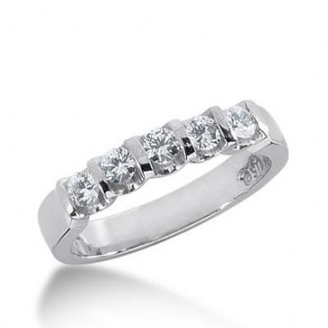 14k Gold Diamond Anniversary Wedding Ring 5 Round Brilliant Diamonds 0.75ctw 317WR137914K