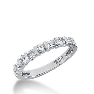 14k Gold Diamond Anniversary Wedding Ring 5 Round Brilliant, 4 Straight Baguette Diamonds 0.72ctw 321WR141414K