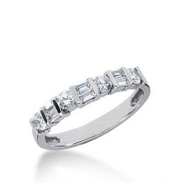 14k Gold Diamond Anniversary Wedding Ring 4 Round Brilliant, 6 Straight Baguette Diamonds 0.64ctw 322WR141514K
