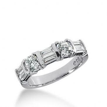 14k Gold Diamond Anniversary Wedding Ring 2 Round Brilliant, 6 Straight Baguette Diamonds 1.26ctw 324WR141714K