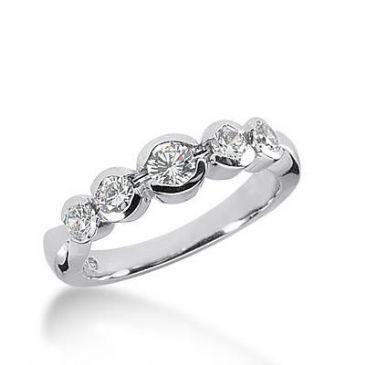 14k Gold Diamond Anniversary Wedding Ring 5 Round Brilliant Diamonds 0.64ctw 327WR143414K