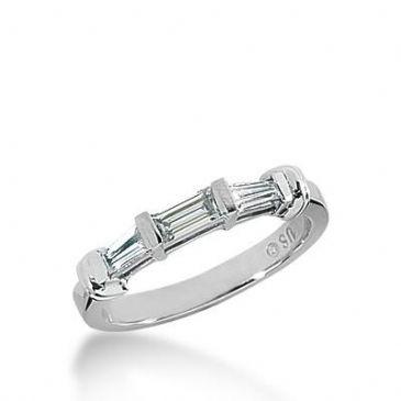 14k Gold Diamond Anniversary Wedding Ring 1 Straight Baguette, 2 Tapered Baguette Diamonds 0.51ctw 329WR144414K