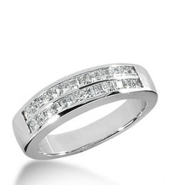 14k Gold Diamond Anniversary Wedding Ring 24 Princess Cut Diamonds 0.96ctw 332WR144814K