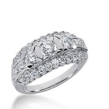 14k Gold Diamond Anniversary Wedding Ring 31 Round Brilliant Diamonds 1.50ctw 333WR147114K