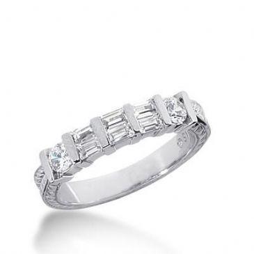14k Gold Diamond Anniversary Wedding Ring 2 Round Brilliant, 6 Straight Baguette Diamonds 0.66ctw 335WR147314K