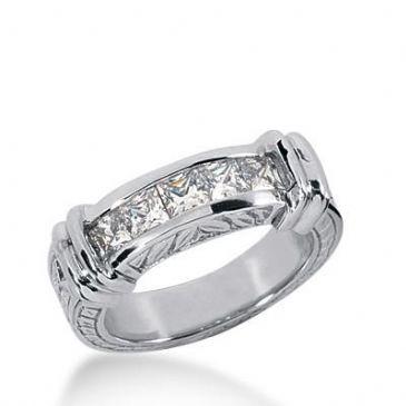14k Gold Diamond Anniversary Wedding Ring 5 Princess Cut Diamonds 0.85ctw 336WR147714K