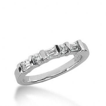 14k Gold Diamond Anniversary Wedding Ring 2 Round Brilliant, 3 Straight Baguette Diamonds 0.52ctw 318WR149114K