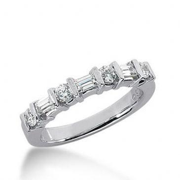 14k Gold Diamond Anniversary Wedding Ring 4 Round Brilliant, 3 Straight Baguette Diamonds 0.62ctw 342WR149214K