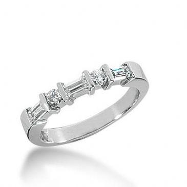 14k Gold Diamond Anniversary Wedding Ring 3 Round Brilliant, 4 Straight Baguette Diamonds 0.53ctw 343WR149414K