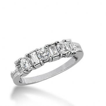 14k Gold Diamond Anniversary Wedding Ring 3 Round Brilliant, 4 Straight Baguette Diamonds 0.77ctw 347WR149914K