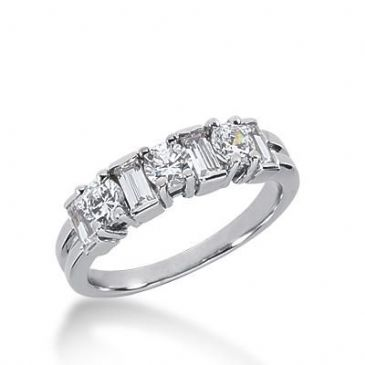 14k Gold Diamond Anniversary Wedding Ring 3 Round Brilliant, 4 Straight Baguette Diamonds 1.08ctw 348WR150014K