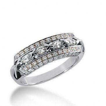 14k Gold Diamond Anniversary Wedding Ring 4 Marquise Shaped, 72 Round Brilliant Diamonds 0.96ctw 349WR150114K