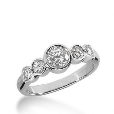 14K Gold Diamond Anniversary Wedding Ring 5 Round Brilliant Diamonds 1.20ctw 350WR150214K