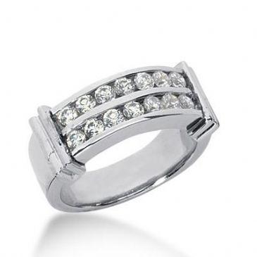 14k Gold Diamond Anniversary Wedding Ring 16 Round Brilliant Diamonds 0.80ctw 355WR150814K