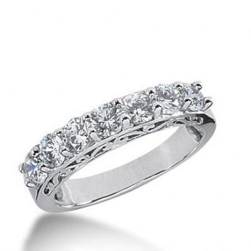 14k Gold Diamond Anniversary Wedding Ring 7 Round Brilliant Diamonds 1.40ctw 360WR151814K
