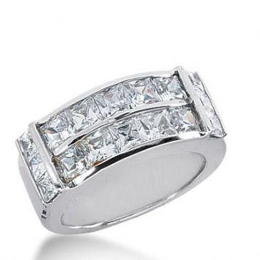 14k Gold Diamond Anniversary Wedding Ring 16 Princess Cut Diamonds 3.58ctw 368WR152914K