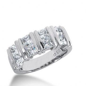 14k Gold Diamond Anniversary Wedding Ring 8 Princess Cut Diamonds 2.16ctw 369WR153014K