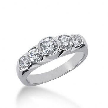 14k Gold Diamond Anniversary Wedding Ring 5 Round Brilliant Diamonds 1.05ctw 373WR155214K