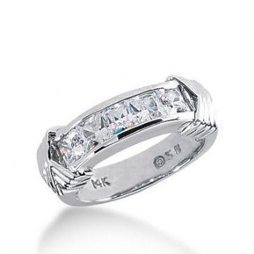 14k Gold Diamond Anniversary Wedding Ring 5 Princess Cut Diamonds 1.35ctw 376WR156014K