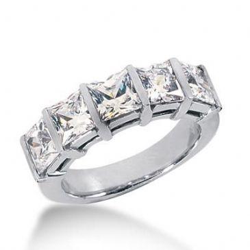 14k Gold Diamond Anniversary Wedding Ring 5 Princess Cut Diamonds 3.75ctw 377WR156314K