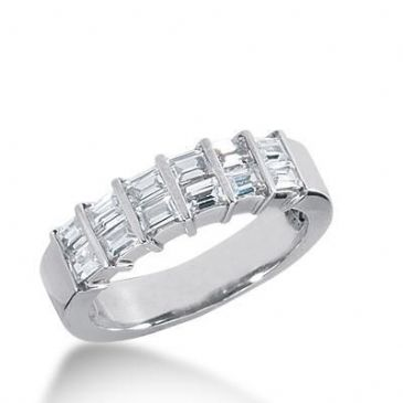 14k Gold Diamond Anniversary Wedding Ring 12 Straight Baguette Diamonds 0.96ctw 378WR156414K
