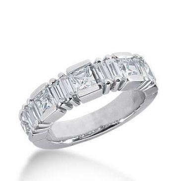 14k Gold Diamond Anniversary Wedding Ring 5 Princess Cut, 8 Straight Baguette Diamonds 1.83ctw 380WR156914K