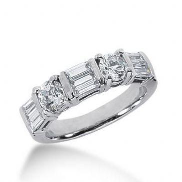 14k Gold Diamond Anniversary Wedding Ring 2 Round Brilliant, 9 Straight Baguette Diamonds 1.42ctw 381WR157014K