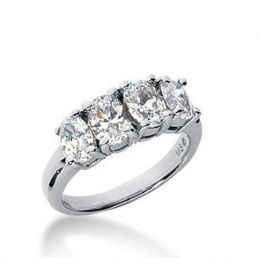 14k Gold Diamond Anniversary Wedding Ring 4 Oval Cut Diamonds 2.30ctw 382WR157214K
