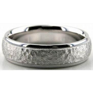 18K Gold 6mm Diamond Cut Wedding Band 666