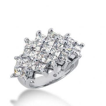 14k Gold Diamond Anniversary Wedding Ring 25 Princess Cut Diamonds 4.25ctw 386WR157614K